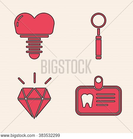 Set Id Card With Tooth, Dental Implant, Dental Inspection Mirror And Diamond Teeth Icon. Vector