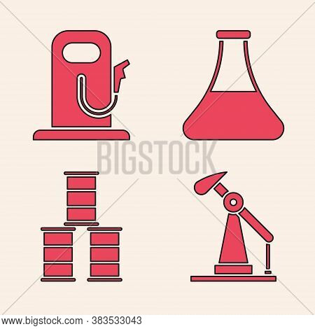 Set Oil Pump Or Pump Jack, Petrol Or Gas Station, Oil Petrol Test Tube And Barrel Oil Icon. Vector