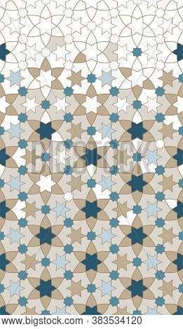 Arab Vector Pattern, Border, Background Design. Geometric Arab Halftone Texture With Color Mosaic Di