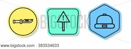 Set Line Camping Knife, Exclamation Mark In Triangle And Beanie Hat. Colored Shapes. Vector