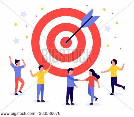 Business Target With Arrow And People. Teamwork, Goal, Motivation, Target Achievement, Successful Co