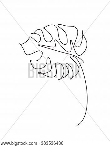 One Continuous Line Drawing Tropical Monstera Leaf. Minimal Natural Eco Concept For Spa Salon Logo.
