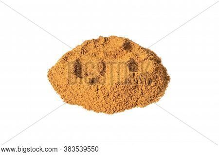 Cinnamon Powder Isolated On A White Background. Front Views, Close-up.