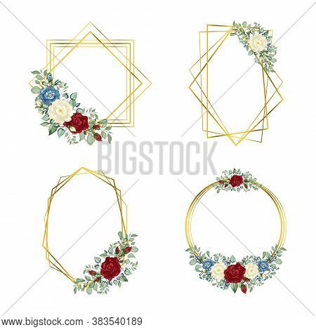 Gold Frames Set. Geometric Crystal Stone Polyhedron. Botanical Template With Golden Frame And Flower