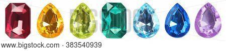 Set Of Bright Gemstones Isolated On White. Banner Design