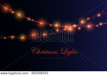 Christmas Lights. Colorful Xmas Garland. Glowing Christmas Lights Isolated On Transparent Background
