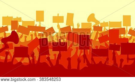 Silhouette Of Cheering Or Riot Protesting Crowd With Banners. Ppolitical Protest With Silhouette Pro