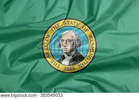Fabric Flag Of Washington. Crease Of Washington Flag Background, The States Of America. The State Se