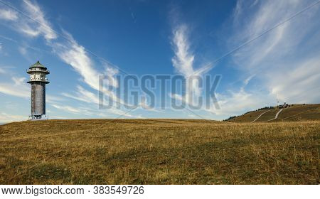 Top Of The Feldberg, Highest Mountain In The Black Forest, With Hiking Ways Leading Towards It And A
