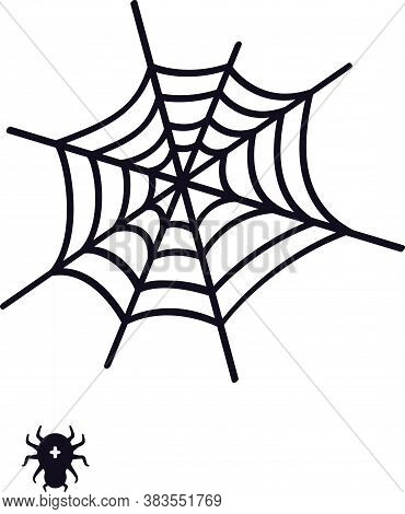 Spiders Web Ans Spider. Vector Illustration For Halloween