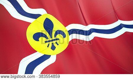 Fluttering Flag Of Saint Louis City. Missouri. United States. High-quality Realistic Render. 3d Illu