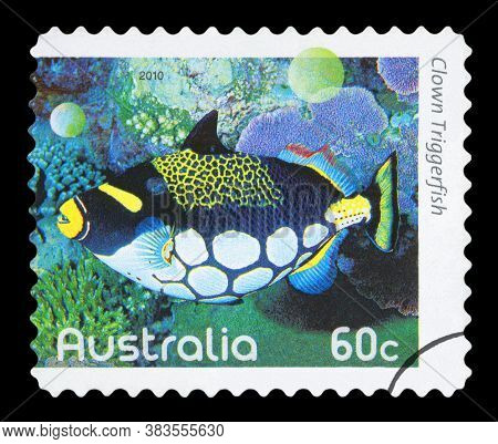 Australia - Circa 2010: A Used Postage Stamp From Australia, Depicting An Image Of A Clown Triggerfi