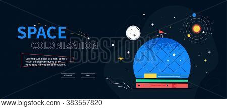Space Colonization - Colorful Flat Design Style Web Banner