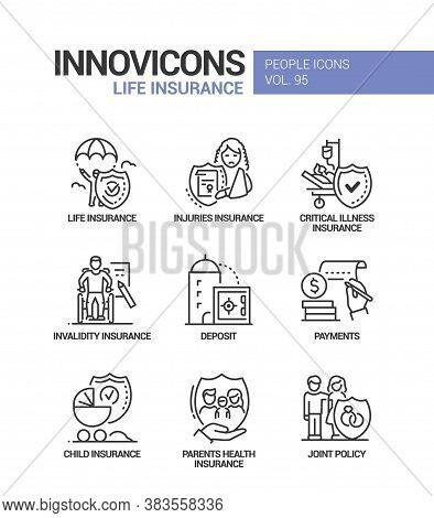 Life Insurance - Vector Line Design Style Icons Set