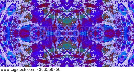 Multicolored Sea. Seamless Swimwear Textile. Violet Grunge Ethnic. Tie And Dye Dots. Rainbow Drawn W