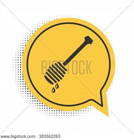 Black Honey Dipper Stick With Dripping Honey Icon Isolated On White Background. Honey Ladle. Yellow