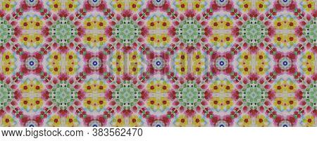 Geometric Rug Pattern. Blue, Indigo, Yellow, Red Seamless Texture. Abstract Ikat Motif. Seamless Tie