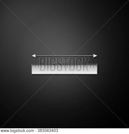 Silver The Measuring Height And Length Icon Isolated On Black Background. Ruler, Straightedge, Scale