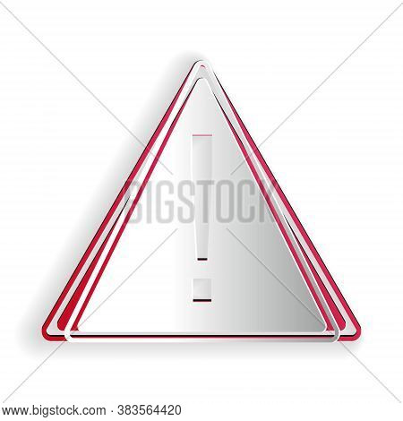 Paper Cut Exclamation Mark In Triangle Icon Isolated On White Background. Hazard Warning, Careful, A