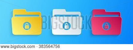 Paper Cut Folder And Lock Icon Isolated On Blue Background. Closed Folder And Padlock. Security, Saf