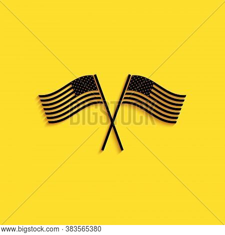 Black Two Crossed American Waving Flags Icon Isolated On Yellow Background. National Flag Of Usa. Th