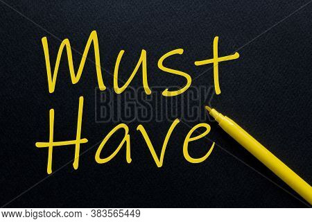Must Have Yellow Pen With Yellow Text Own Rent At The Black Background