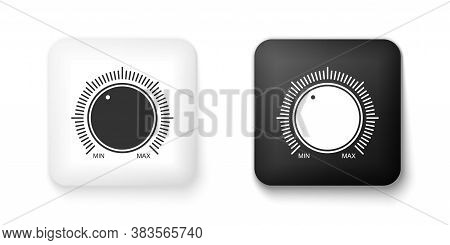Black And White Dial Knob Level Technology Settings Icon Isolated On White Background. Volume Button