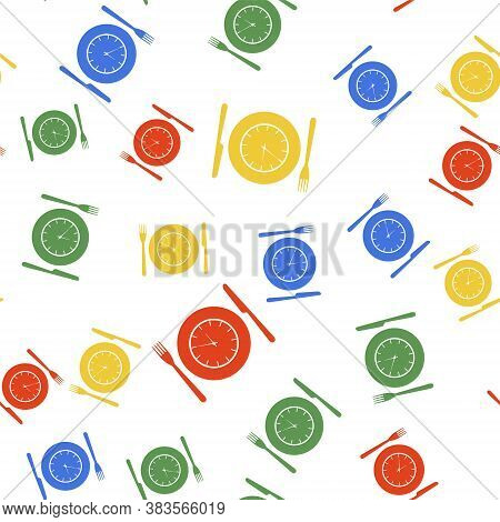 Color Plate With Clock, Fork And Knife Icon Isolated Seamless Pattern On White Background. Lunch Tim