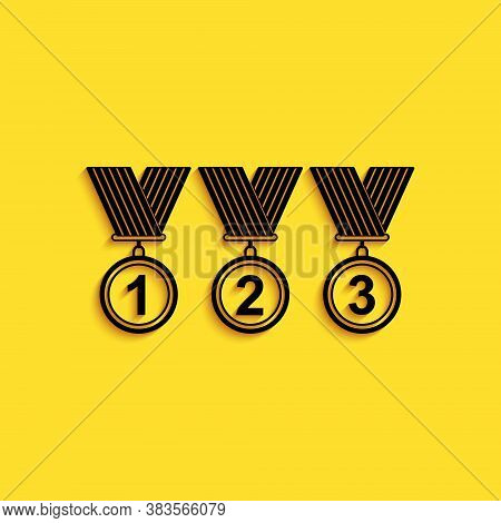 Black Set Medal Icon Isolated On Yellow Background. Winner Simbol. Long Shadow Style. Vector