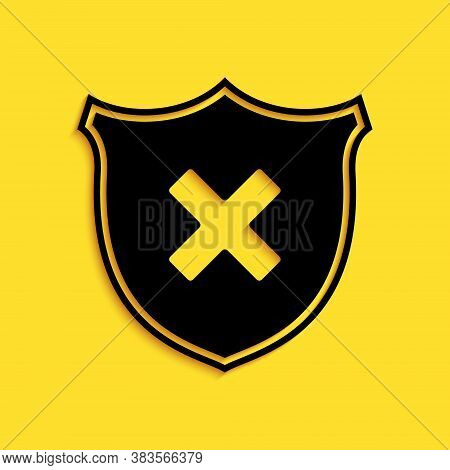 Black Shield And Cross X Mark Icon Isolated On Yellow Background. Denied Disapproved Sign. Protectio