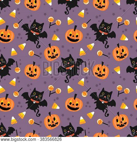 Cute Vampire And Halloween Pumpkin  Seamless Pattern