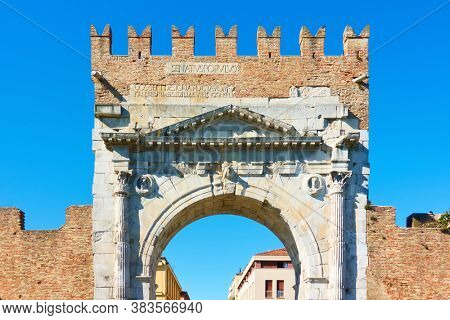 Arch of Augustus. Gate of the Old town of Rimini, Italy. Was built in 27 BC and it is the oldest Roman arch which survives