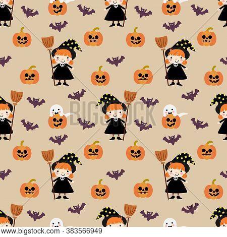 Cute Halloween Pumpkin And Witch Seamless Pattern