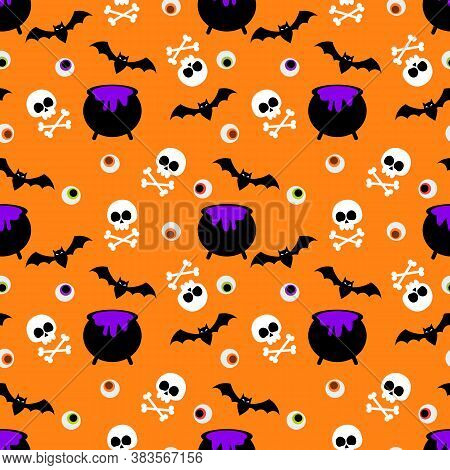 Cute Halloween Skull And Poison Seamless Pattern
