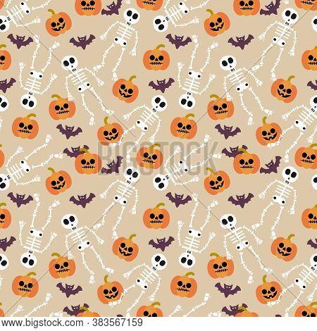 Cute Skeleton And Halloween Pumpkin  Seamless Pattern
