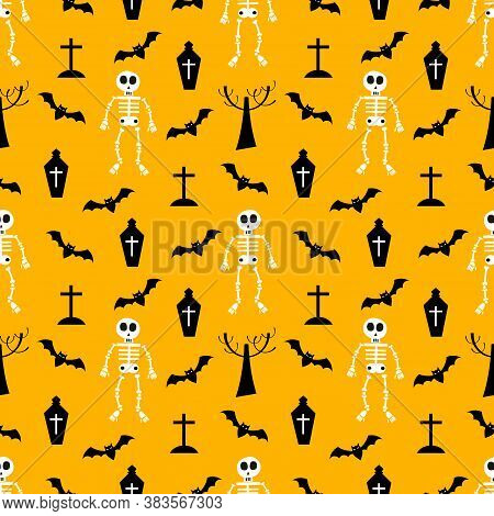 Skeleton And Halloween Element Seamless Pattern. Spooky Halloween Concept.