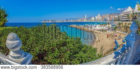 Benidorm, Spain - August 15, 2020: View Of Skyscrapers Of The City From The Balcony Of The Mediterra