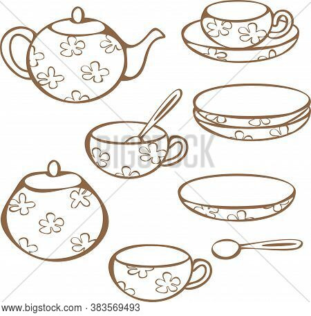 Vector Set Of Crockery For Tea-drinking - Cups, Mugs, Teapot, Sugar Bowl And Lump Sugar. Concept For