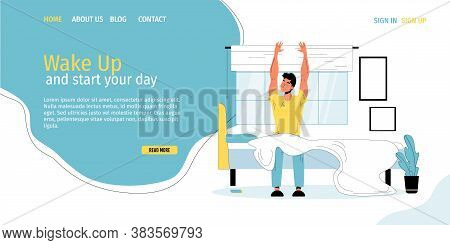 Daily Morning Life And Routine Theme. Young Man Waking Up In Morning To Start New Good Day. Happy Po
