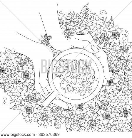 Enjoy The Little Things On Floral Monochrome Motivation Banner. Cup In Hands Top View On Flower Back