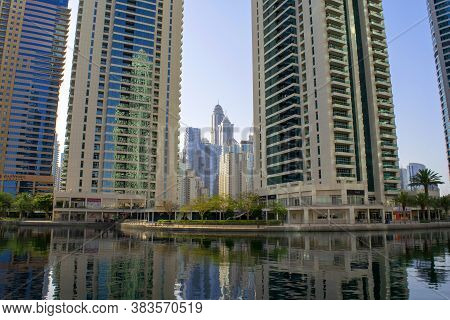 Dubai / Uae - May 26, 2020: Beautiful View Of Jumeirah Lakes Towers Skyscrapers With Artificial Lake