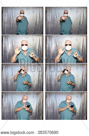 Photo Booth. Photo Strips of a Caucasian Man wearing a Anti-Covid 19 Face Mask as he poses for photos in a Photo Booth with a silver sequin background.