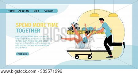 Funny Excited Man Woman Lovers Shopping Together. Boyfriend Rolling Girlfriend In Trolley Cart. Shop