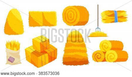 Collection Of Hays. Flat Vector Illustration Dried Haystacks With Fork. Rolls Of Hay. A Supply Of Fe