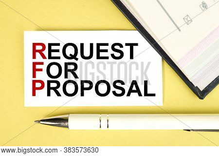 Rfp - Request For Proposals. Text On White Paper On Yellow Background