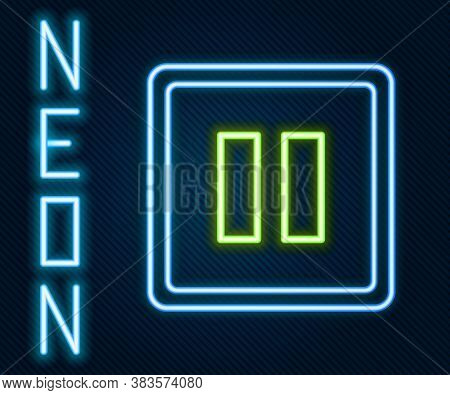 Glowing Neon Line Pause Button Icon Isolated On Black Background. Colorful Outline Concept. Vector I