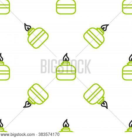 Line Alcohol Or Spirit Burner Icon Isolated Seamless Pattern On White Background. Chemical Equipment