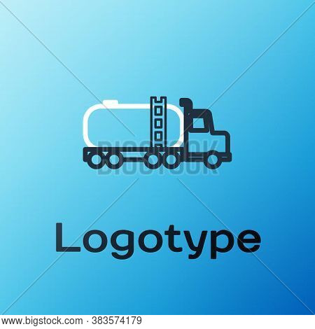 Line Tanker Truck Icon Isolated On Blue Background. Petroleum Tanker, Petrol Truck, Cistern, Oil Tra