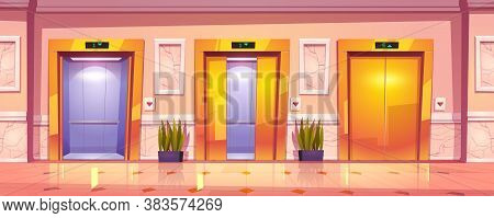 Luxury Hallway Interior With Golden Elevator Doors, Marble Wall And Plants. Vector Cartoon Illustrat