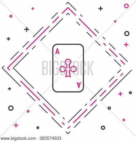 Line Playing Card With Clubs Symbol Icon Isolated On White Background. Casino Gambling. Colorful Out